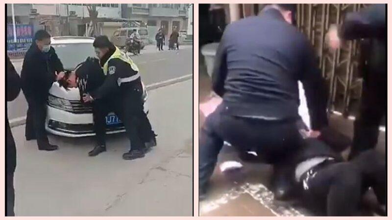 Cảnh sát và nhân viên an ninh dùng bạo lực bắt giữ những người không đeo khẩu trang.