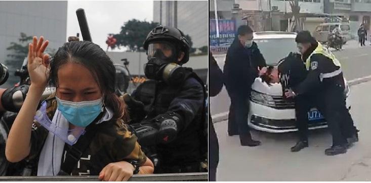 Trái: Cảnh sát Hồng Kông dưới sự chỉ đạo của ĐCSTQ bắt người người dân đeo khẩu trang phòng độc; Phải: Nhân viên an ninh Trung Quốc bắt bớ người dân không đeo khẩu trang.