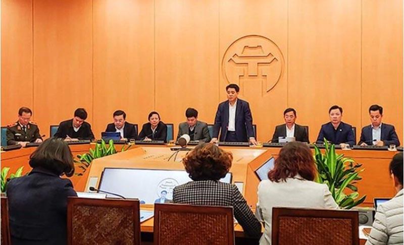 Chủ tịch UBND TP. Hà Nội Nguyễn Đức Chung phát biểu trong một cuộc họp. (Ảnh qua vtc)