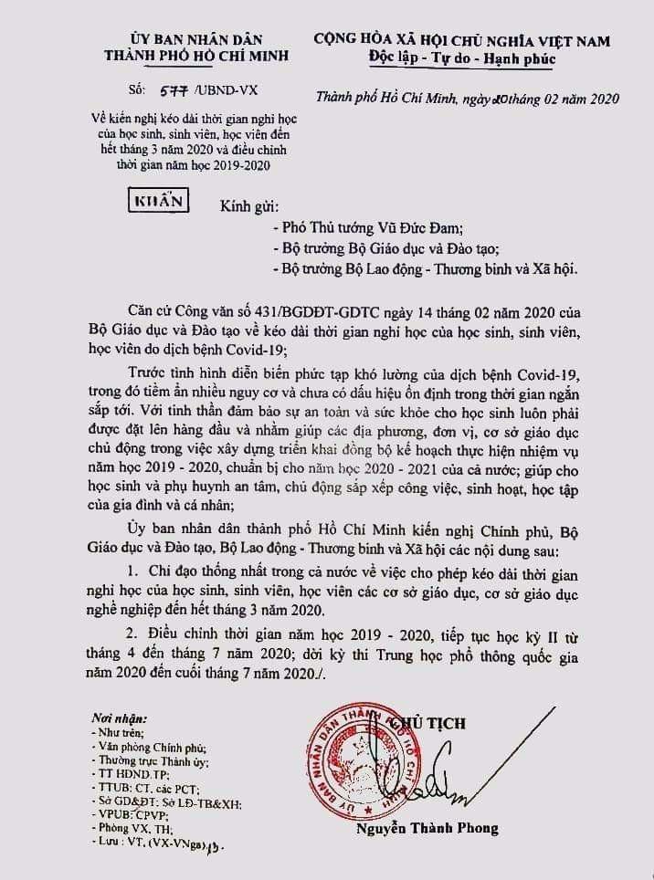 Công văn do Chủ tịch UBND TP.HCM Nguyễn Thành Phong ký ngày 20/2. (Ảnh qua Zing)