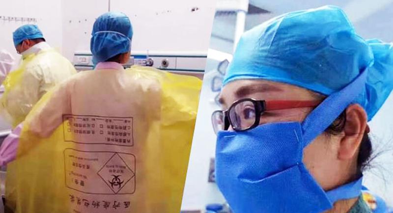 Y bác sĩ được cho là ở Vũ Hán mặc áo choàng từ túi rác, khẩu trang bằng vải tự chế.