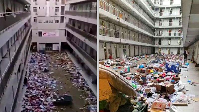 Hơn 10 trường đại học ở Vũ Hán được trưng dụng, đồ đạc của sinh viên bị ném xuống lầu (ảnh 1)