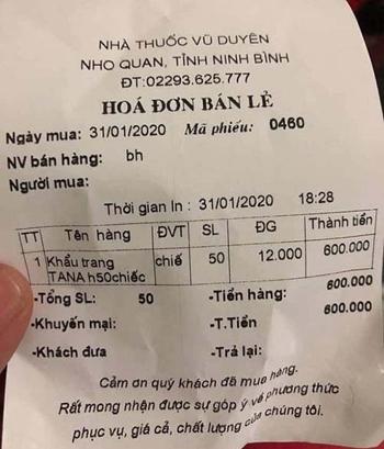Biên lai bán một hộp khẩu trang giá 600.000 đồng của Công ty Vũ Duyên.