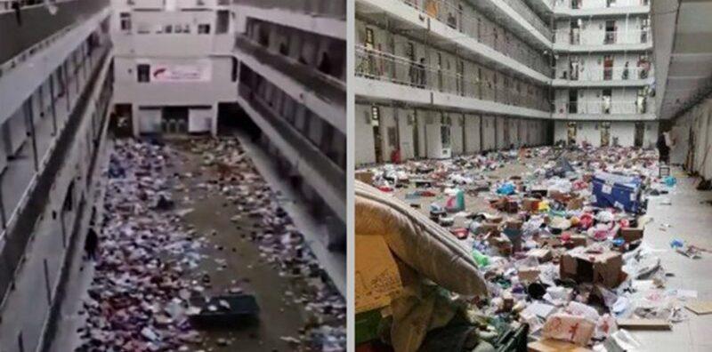 Đồ đạc của sinh viên bị vứt ra khỏi phòng, ký túc xá được trưng dụng làm điểm kiểm dịch. Dịch corona bùng phát ở Trung Quốc.