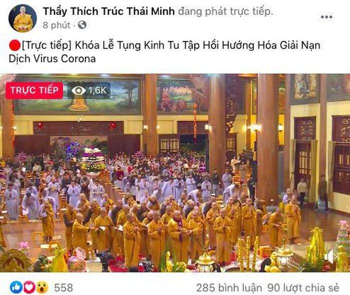 """Trụ trì chùa Ba Vàng đeo khẩu trang thuyết giảng sau khi bày cách """"hóa giải"""" dịch nạn virus corona -ảnh 2"""