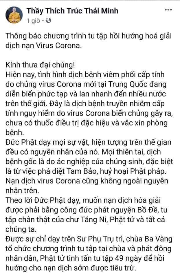 """Trụ trì chùa Ba Vàng đeo khẩu trang thuyết giảng sau khi bày cách """"hóa giải"""" dịch nạn virus corona -ảnh 3"""