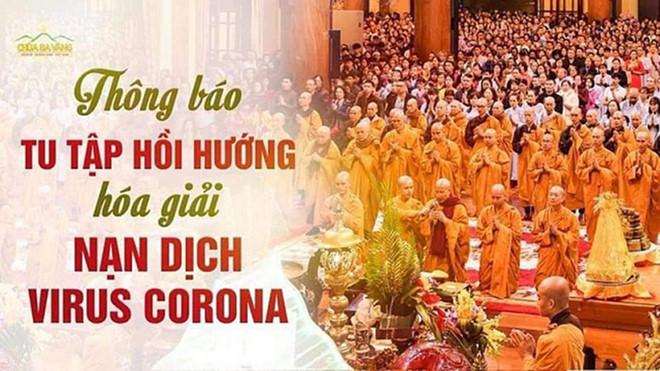 """Trụ trì chùa Ba Vàng đeo khẩu trang thuyết giảng sau khi bày cách """"hóa giải"""" dịch nạn virus corona"""