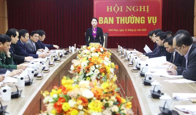Cuộc họp của Ban Thường vụ Tỉnh ủy Vĩnh Phúc. (Ảnh qua Plo)