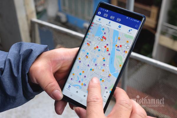 Bản đồ theo dõi người cách ly vì dịch viêm phổi Vũ Hán tại Hà Nội. (Ảnh qua vietnamnet)
