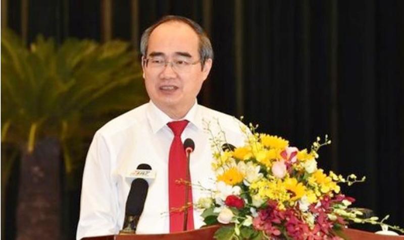 Bí thư Thành ủy Nguyễn Thiện Nhân phát biểu tại hội nghị. (Ảnh qua cong an)