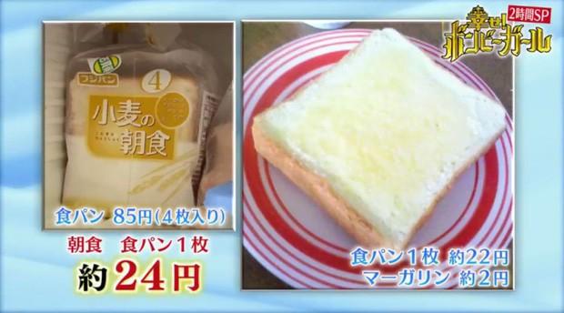Bữa sáng là một lát bánh mỳ nhỏ.