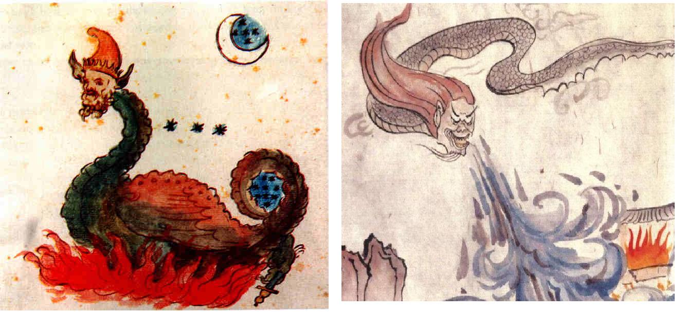 Sự tương đồng trong bức vẽ của Nostradamous với hình vẽ miêu tả Cộng Công.