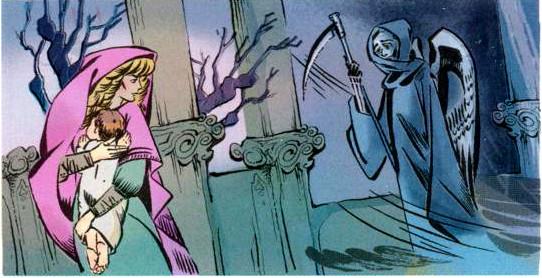 Nhân vật Thần chết trong tranh vẽ minh họa cho câu chuyện Một người mẹ của Anderden.