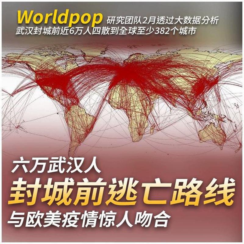 """nhóm dữ liệu lớn """"Worldpop"""" của Đại học Southampton ở Anh đã sử dụng máy tính để phân tích điện thoại di động và dữ liệu hàng không của gần 60.000 người Vũ Hán đi ra ngoài trước khi đóng cửa thành phố"""