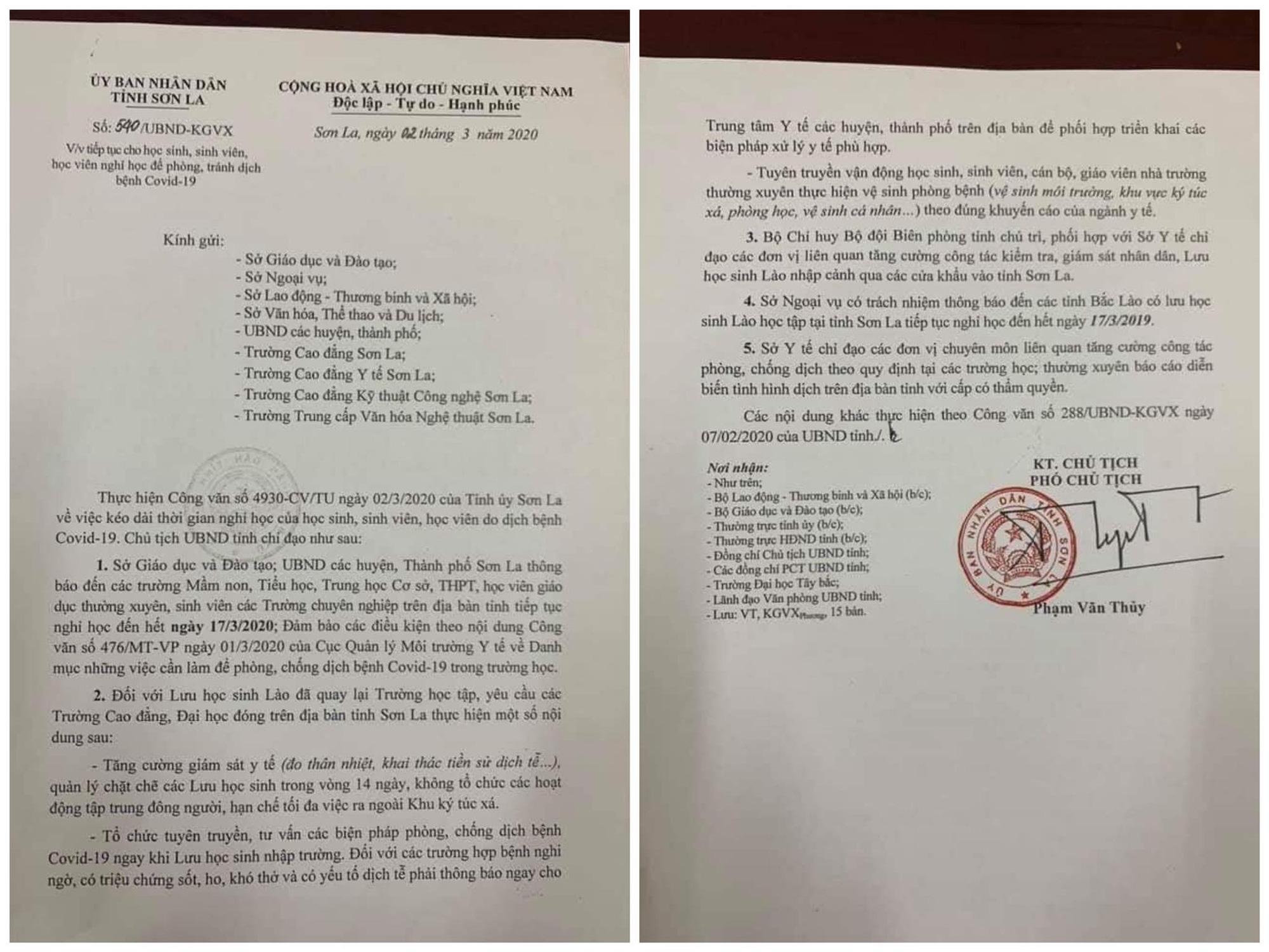 Văn bản thông báo tiếp tục nghỉ học của UBND tỉnh Sơn La. (Ảnh qua tuoitre)
