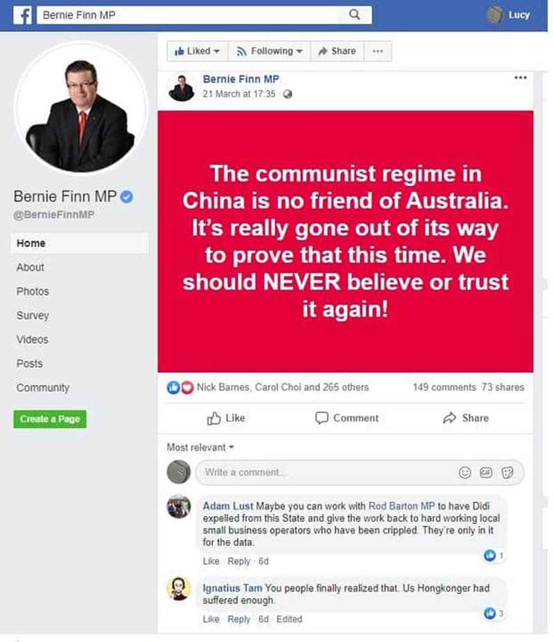 Vào ngày 21/3/2020, ông Finn đã đăng bài trên Facebook