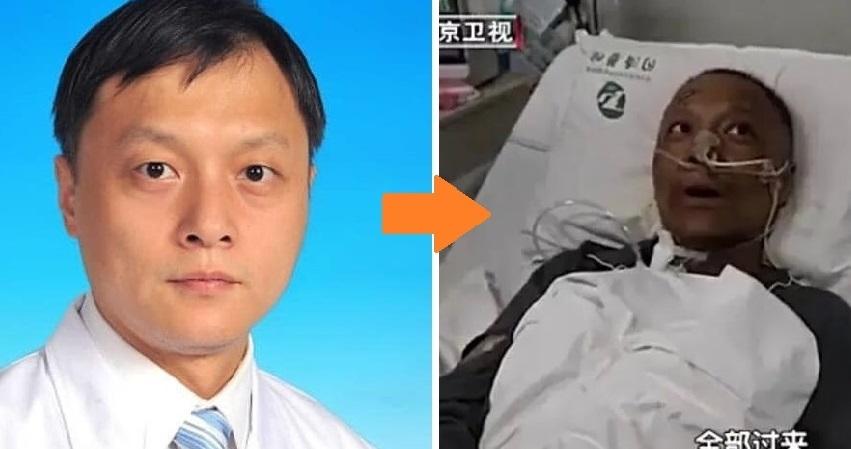 Mặc dù hai bác sĩ Vũ Hán bị nhiễm virus Corona Vũ Hán đã thoát chết nhưng toàn thân thể và khuôn mặt họ trở nên đen sạm. (Ảnh chụp màn hình video)