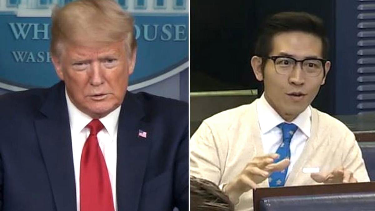 """Phóng viên Thượng Hải tự nhận đến từ Đài Loan khi được Trump hỏi """"Anh đến từ đâu?"""" (ảnh 1)"""