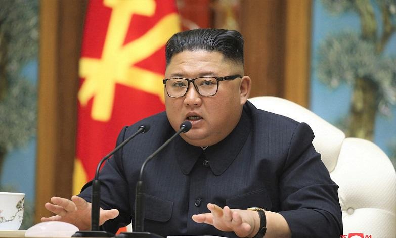 Nhà lãnh đạo Triều Tiên Kim Jong-un trong cuộc họp với Đảng công nhân Triều Tiên ngày 11/4/2020.