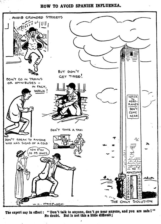 """Tranh biếm họa của tờ """"Daily Mirror """" của Anh năm 1918, mô tả mọi người đang bối rối không biết làm sao."""