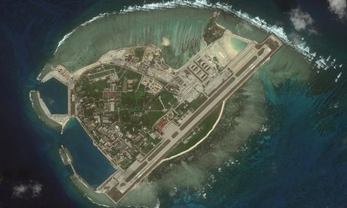 Ảnh vệ tinh đảo Phú Lâm thuộc quần đảo Hoàng Sa của Việt Nam. (Ảnh qua Vnexpress)