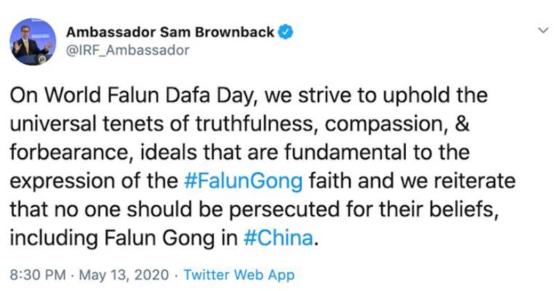 Đại sứ Hoa Kỳ vì tự do tôn giáo quốc tế, ông Sam Brownback, chúc mừng ngày Pháp Luân Đại Pháp thế giới 13/5/2020