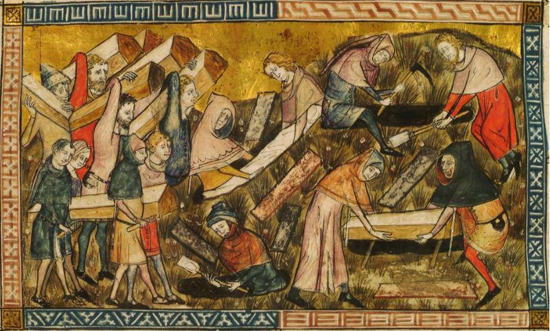 Một bức tranh thế kỷ 14 mô tả một vụ chôn cất hàng loạt nạn nhân bệnh dịch hạch ở thành phố Tournai.