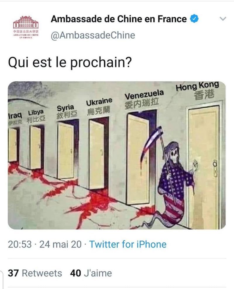 "Bức biếm họa mang tựa đề ""Qui est le prochain?""."