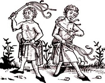 Tác phẩm nghệ thuật thời trung cổ mô tả những người cầm cờ đang tự đánh mình để tránh Cái chết đen.