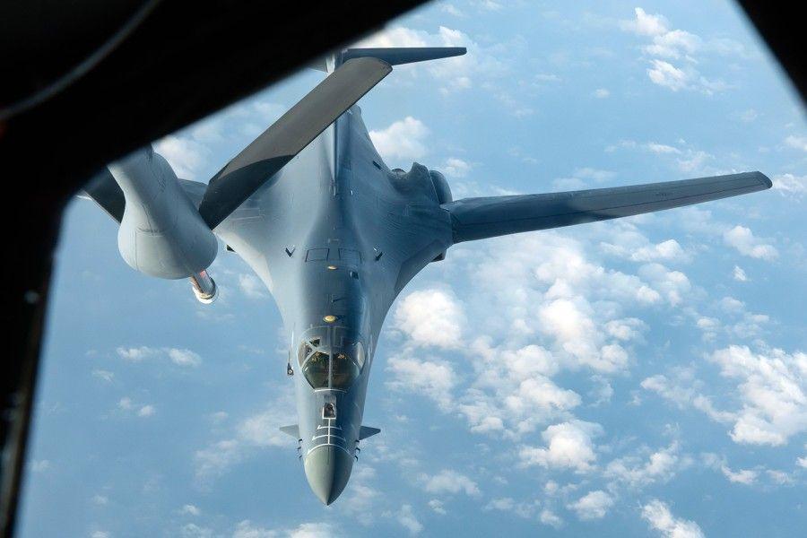 Máy bay ném bom B-1B Lancer thuộc Không đoàn Ném bom số 28 của Mỹ. (Ảnh qua plo)