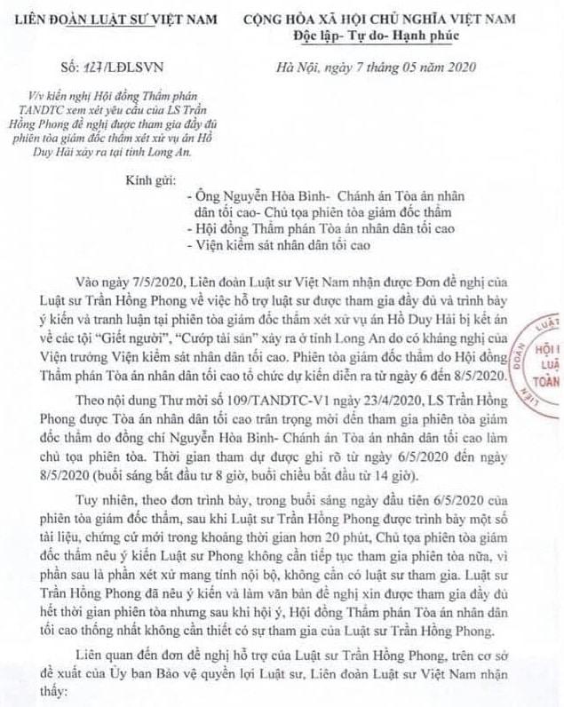 Kiến nghị ngày 7/5 của Liên đoàn Luật sư Việt Nam. (Ảnh qua vtc)