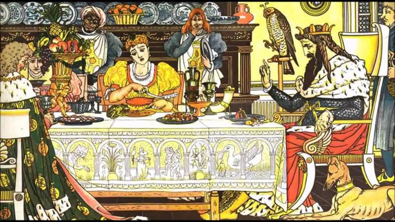 Công chúa miễn cưỡng đưa chén và thìa cho con ếch như bao vị khách khác, con ếch cũng ăn uống một cách tự nhiên.