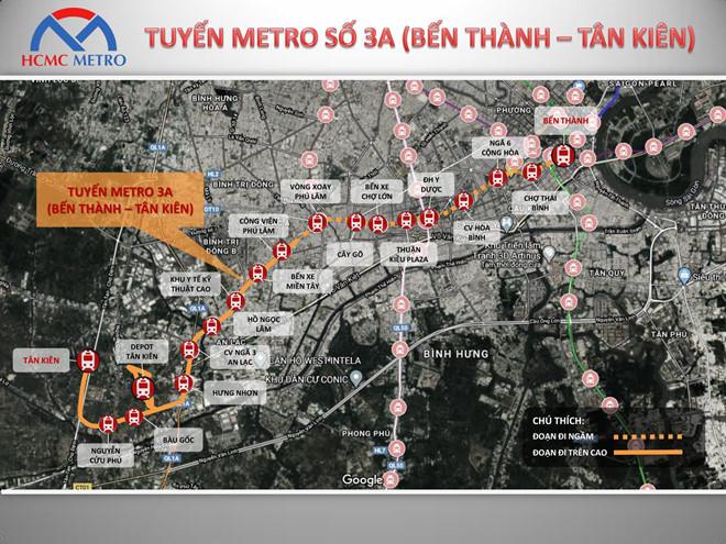 Sơ đồ tuyến metro số 3A có tổng vốn đầu tư dự kiến gần 68.000 tỉ đồng. (Ảnh qua laodong)