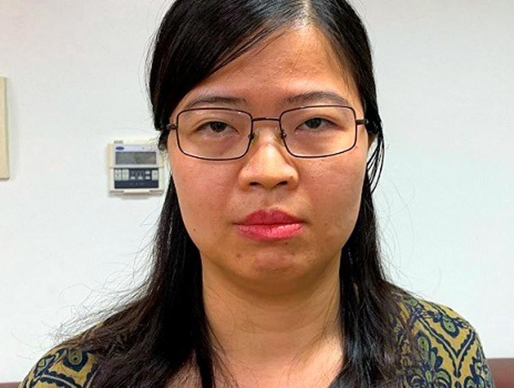 Nguyễn Thị Kim Anh tại cơ quan điều tra. (Ảnh qua vnexpress)