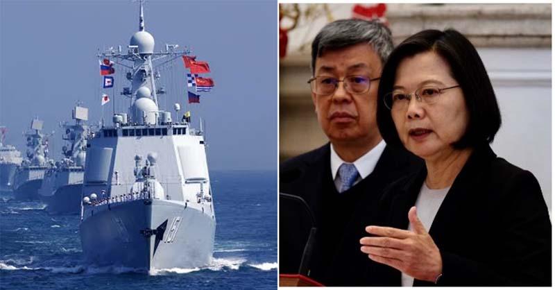 Một cuộc tập trận của hải quân Trung Quốc. (trái) và Tổng thống Đài Loan Thái Anh Văn (phải) trong một cuộc họp báo.