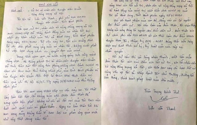 Tâm thư xin lỗi của ông Thanh. (Ảnh qua dantri)