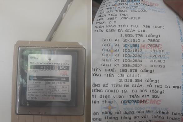 Số điện trên đồng hồ và trên hóa đơn khách hàng bị chênh lệch gần 400KWh. (Ảnh qua tuoitre)