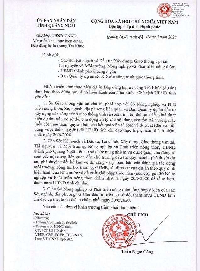 Văn bản chỉ đạo của Chủ tịch UBND tỉnh Quảng Ngãi. (Ảnh qua tienphong)