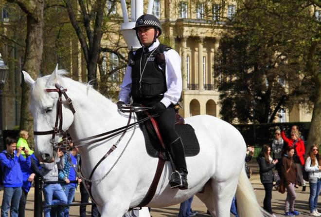 Một sĩ quan cảnh sát tuần tra trên lưng ngựa tại London (Anh). (Ảnh qua Reuters)