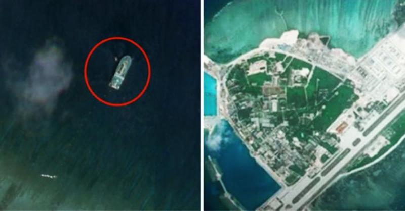 Tàu rải cáp Tian Yi Hai Gong của Trung Quốc đang hoạt động tại đảo Cây thuộc quần đảo Hoàng Sa của Việt Nam (Ảnh qua Planet Labs Inc).