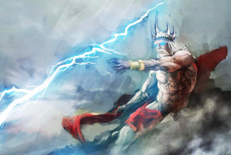 Thần Zeus giáng liên tiếp mấy tia sét vào Typhon, khiến nó đau đớn gầm rú liên hồi.
