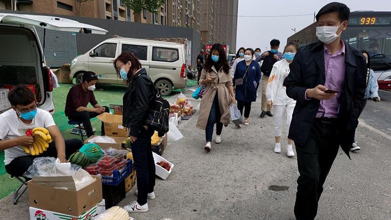 Hình ảnh một khu chợ ngoài trời ở Bắc Kinh.