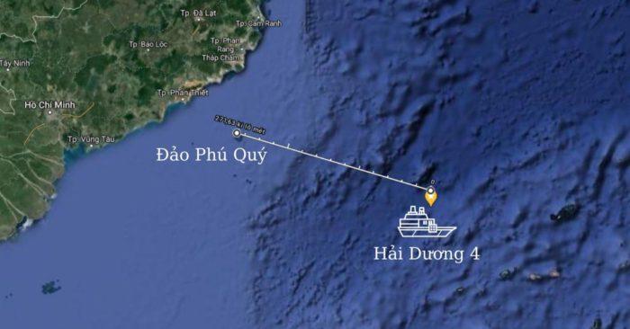 Tàu Hải Dương 4 của Trung Quốc đang trong vùng đặc quyền kinh tế của Việt Nam. (Ảnh chụp màn hình Google Map).