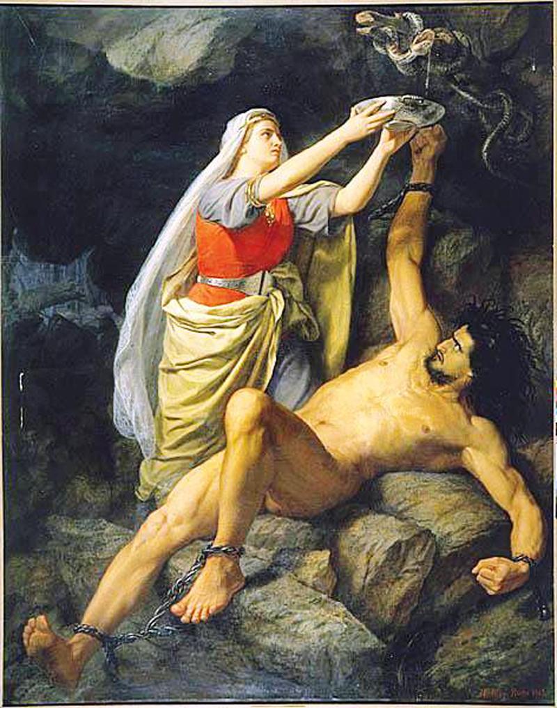 Tranh Loki và Sigyn (1893) miêu tả hình phạt của các vị Thần dành cho Loki. Tranh của Mårten Eskil Winge.