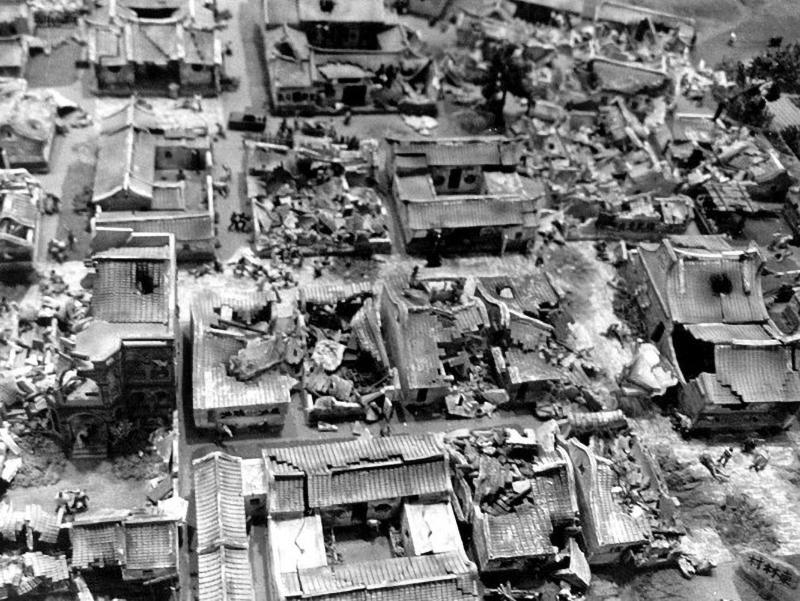 Nhà cửa trên đảo Kim Môn bị hư hại nghiêm trọng do trúng đạn pháo của Trung Quốc đại lục