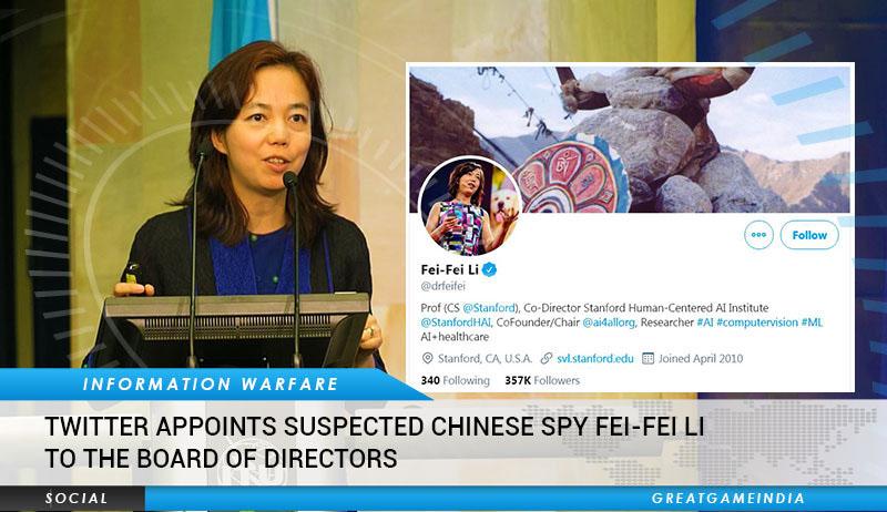 Twitter bổ nhiệm người được cho là gián điệp Trung Quốc - Lý Phi Phi (Fei Fei Li) vào hội đồng quản trị của của công ty.