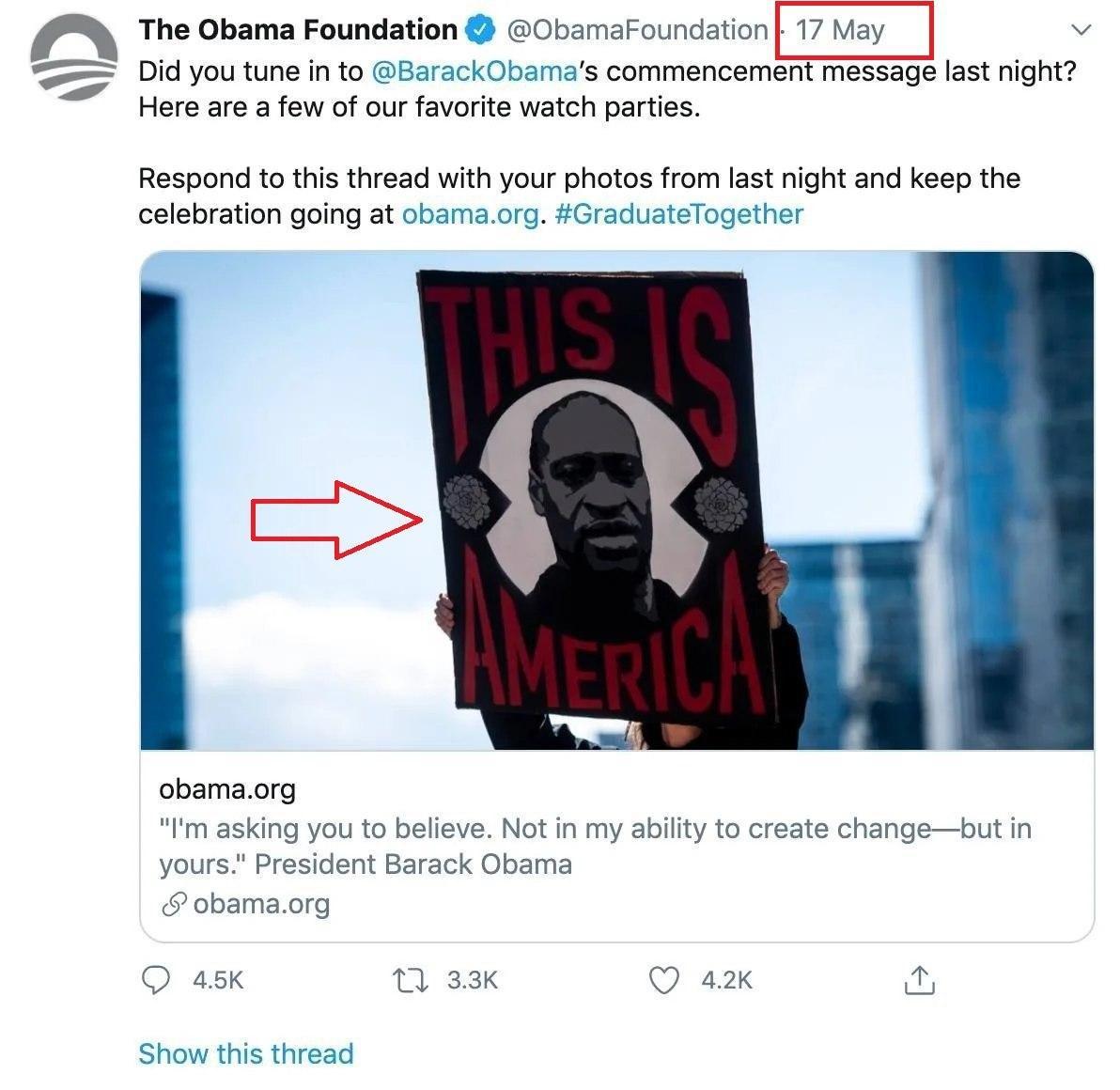 Bức ảnh Twitter được Quỹ Obama sử dụng là vào ngày 17/5.