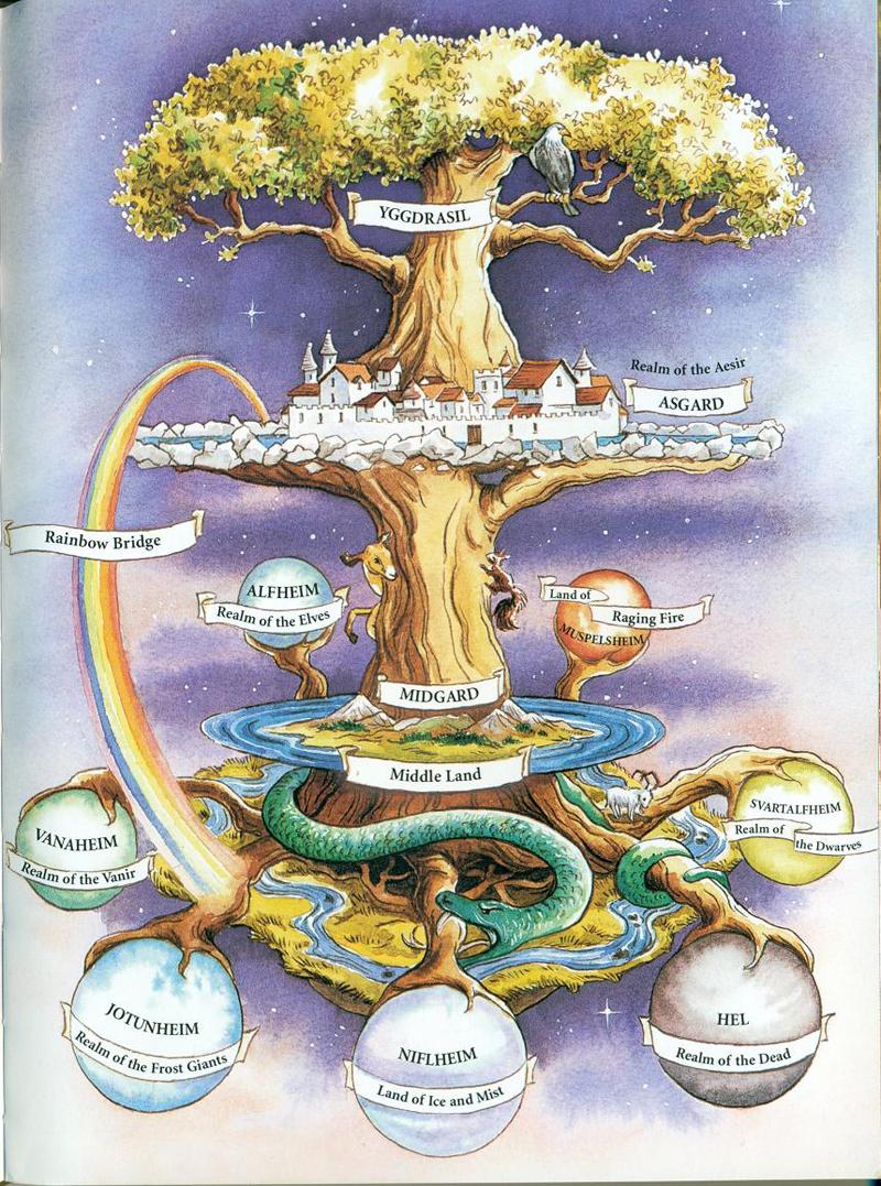 Vũ trụ quan trong thần thoại Bắc Âu (2003) – tranh của Frances Melville. (Ảnh: Flickr)