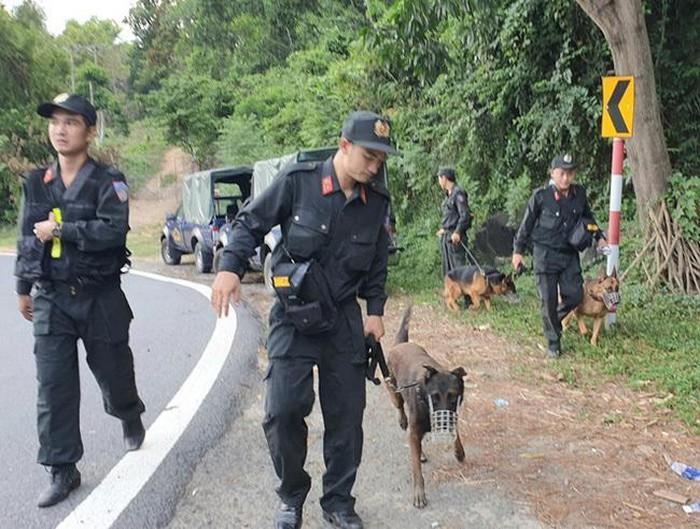 Lực lượng Công an và quân đội truy tìm phạm nhân trốn trại tại đèo Hải Vân. (Ảnh qua vtv)