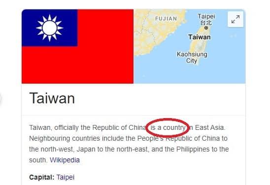 """Wikipedia tiếng Anh đã hiển thị Đài Loan là một """"quốc gia"""" (country) (Ảnh chụp màn hình)"""